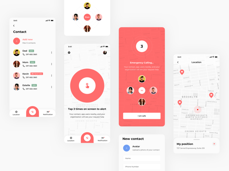 Emergency Call emergency call mobile app ui concept