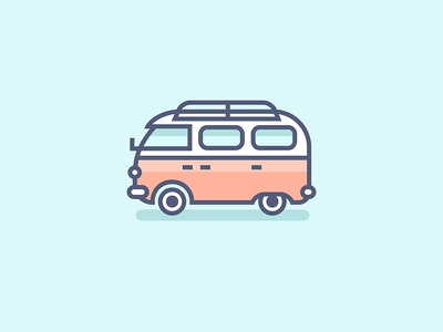 Van landing web icono beach hippie travel car van design vector icon