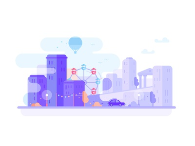 Cabify city! vector illustration graphic cabify skyline sky car building city web app