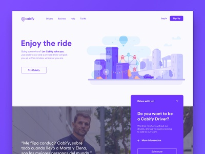 Home page of the Cabify website sketch ui design ride car city illustration home landing web cabify