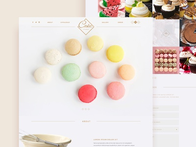 Cake studio interface user design web ui ux cupcakes sweets minimalistic clean page landing