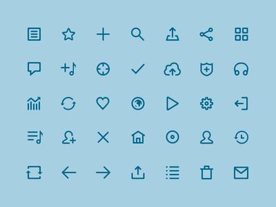 Mixcloud Icons stroke set pictogram glyph line iconography share play icons music audio mixcloud