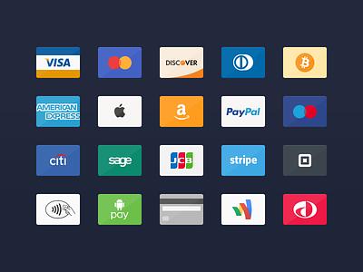Card Icons 2.0 (Free) mastercard visa paypal discover bitcoin american express credit card flat psd free icon icons