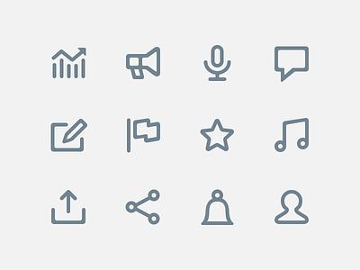 Bigger Icons linear iconography music pictogram stroke set line glyph audio mixcloud icons