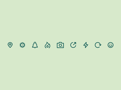 Happyning Icons settings bell flame trending share set stroke pictogram line icons iconography glyph