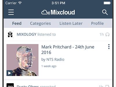 iOS Feed radio apple sound ui ios feed mixcloud music mobile audio app iphone