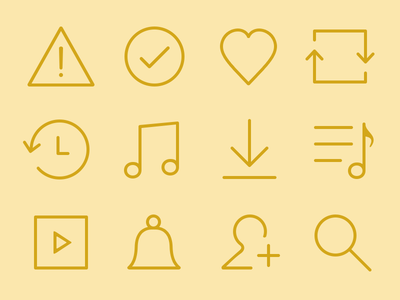 Empty States pictogram glyph search bell note stroke set line icons icon iconography