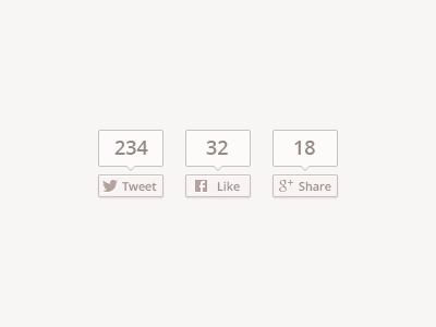 Share Buttons (+ Free PSD) share twitter count button ui social sharing icons like facebook google gplus tweet psd free download