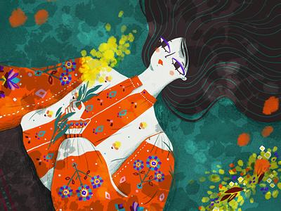 La Blouse Roumaine editorial illustration folklore folkart illustration digital illustrator