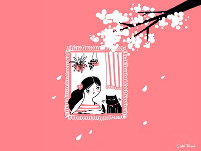 Spring illustration freebie wallpaper digital illustrator