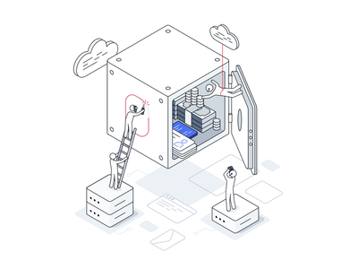 Cloud security attack attack tech servers isometric safe it cloud concept graphic illustration security