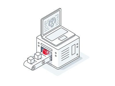 Supply chain compromise security attack attack isometric icon graphic concept illustration tech it supply chain security