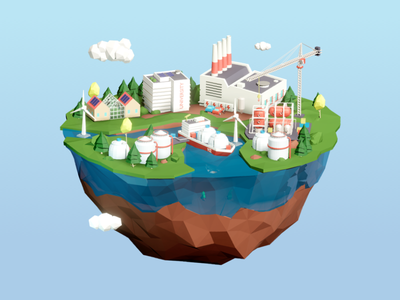 Sustainable industry illustration industry illustration 3d blender low poly art low poly