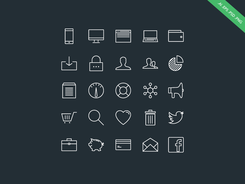 Outlined - iOS 7 Style Icon Set ios 7 devices dashboard wallet user analytics email briefcase shopping cart download business icons