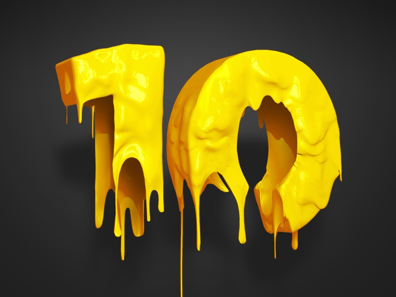 Liquid Ten 3d 3d design cgi liquid dripping 10 yellow sculpted