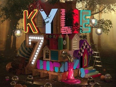 Kylie's Birthday Treehouse 3d forest neon typography treehouse 3d design cg daughter