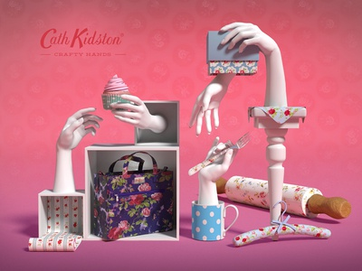 Crafty Hands - Cath Kidston craft patterns hands cgi 3d design cath kidston