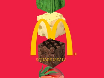 Square Meals square meals cgi burger square 3d 3d design mcdonalds