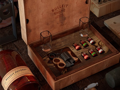 Bulleit® Whiskey Shots - Concept Drinking Game gun bourbon 3d design cgi shots whisky whiskey bulleit