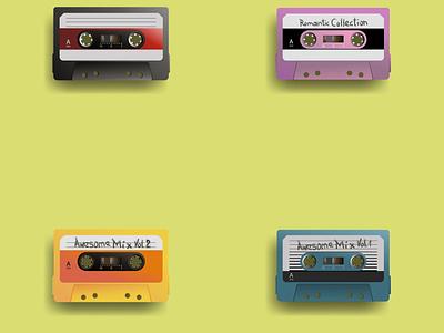 Audio Tapes design audiotape audio vintage retrowave vector illustration 90s