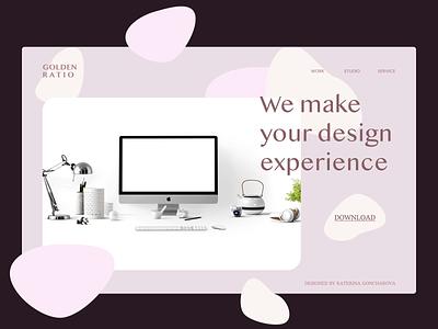 Main banner for design studio figma typography design studio web web design landing page ui