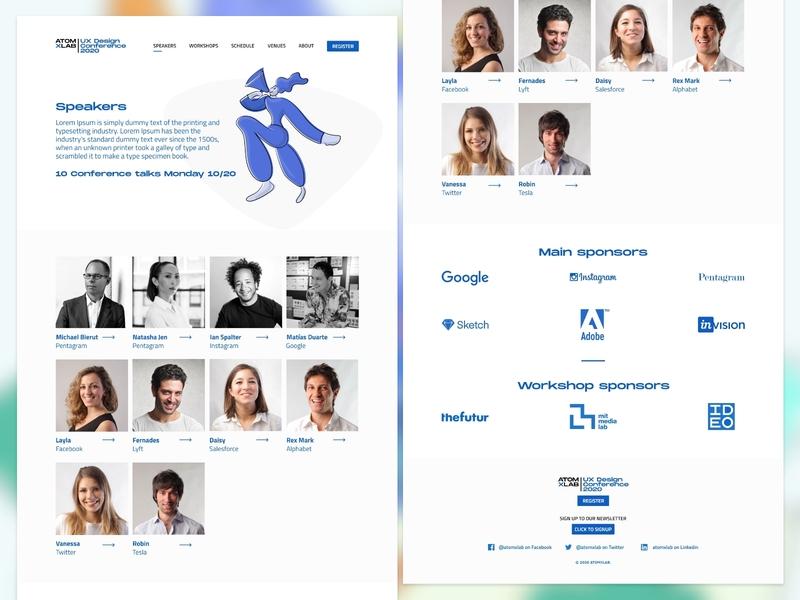 Speakers Page - Event Microsite app minimal illustrator website ux ui web flat design illustration