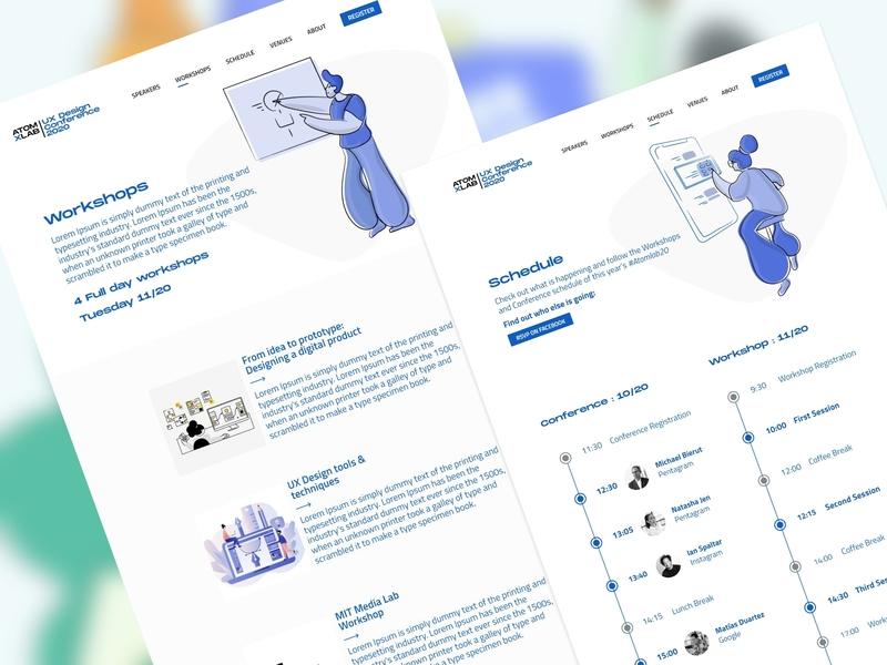 Workshop and Schedule Page - Event landing page illustrator app minimal website ux ui web flat design illustration