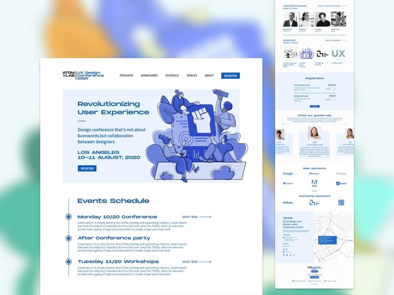 Event Microsite landing page and illustration ui ux website illustrator vector app web flat design illustration