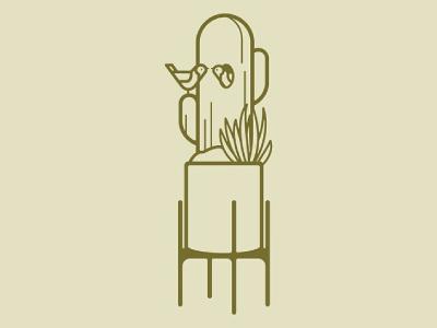 Cactus Birds bird cactus midcentury plant interior illustration simple