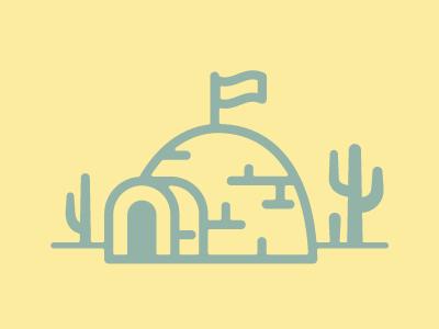 Dream House igloo desert flag cactus architecture ice icon cacti landscape funny block dome