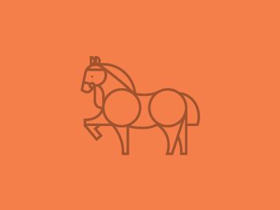 Horse horse animal icon line simple orange pet midcentury circle logo