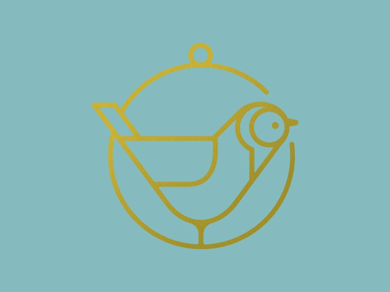 Gold Finch foil icon simple line circle ring gold bird finch