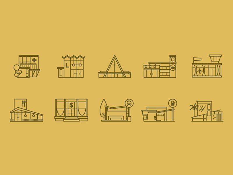 mid-century style building icons monoweight architecture midcentury churcg aframe icons building icon