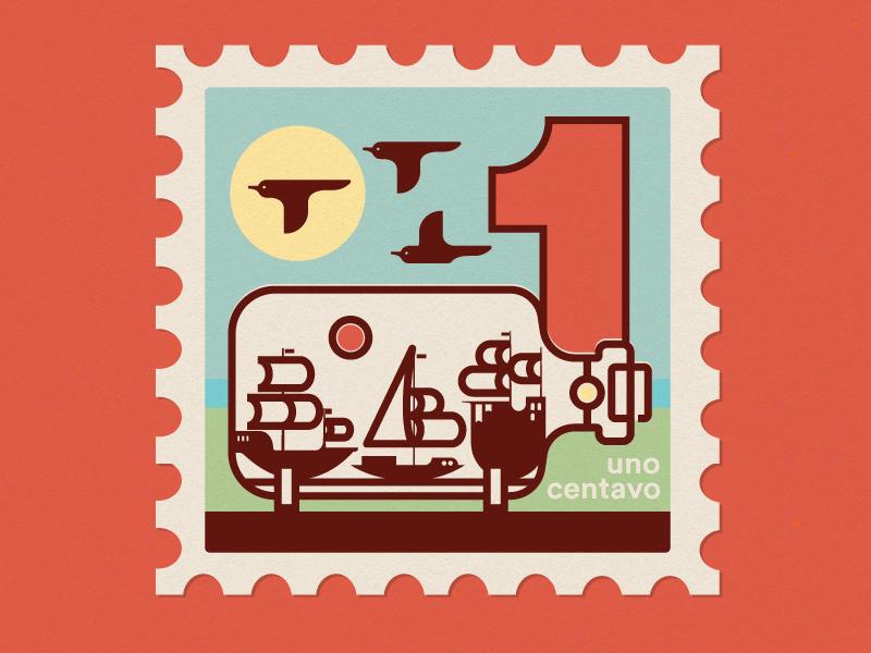 Ship in a Bottle icon postage bottle ship bird monoweight midcentury stamp