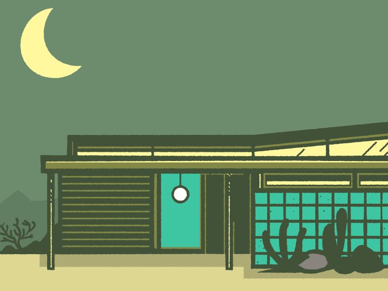 House cactus moon desert house