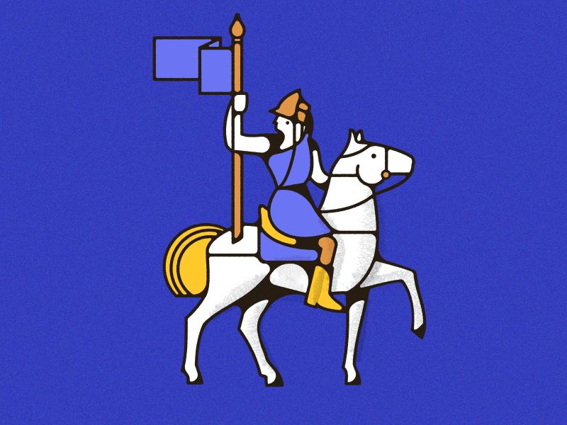 Conquistador midcentury monoweight flag soldier horse