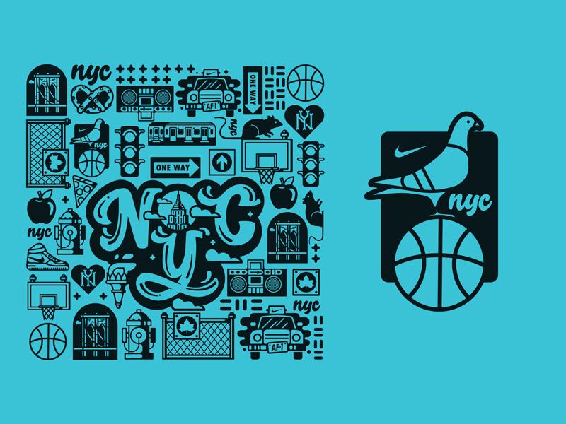Nike AF-1 NYC Custom Graphics basketball pretzel type cab pigeon sneaker new york nyc nike