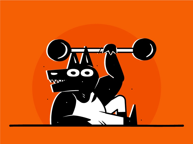 Wolfman illustration strongman barbell wolf character design fitness gym