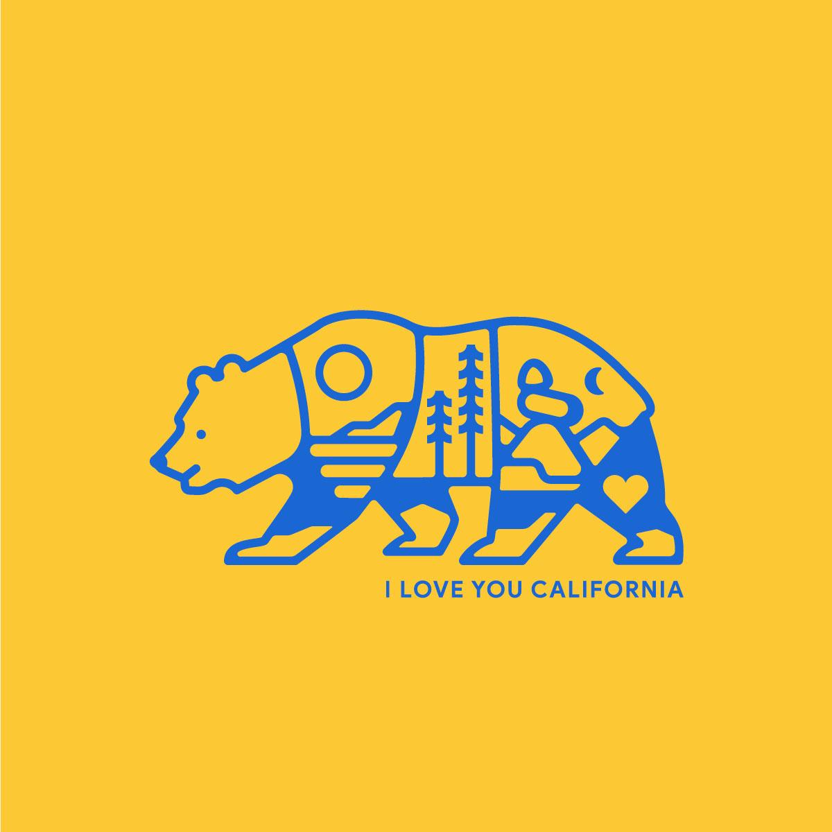I Love You California logo vector desert mountain ocean state animal bear california