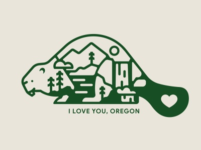 I Love You, Oregon state flag state seal state usa united states waterfall pine icon vector animal logo west coast pacific north west pnw nature beaver portland oregon