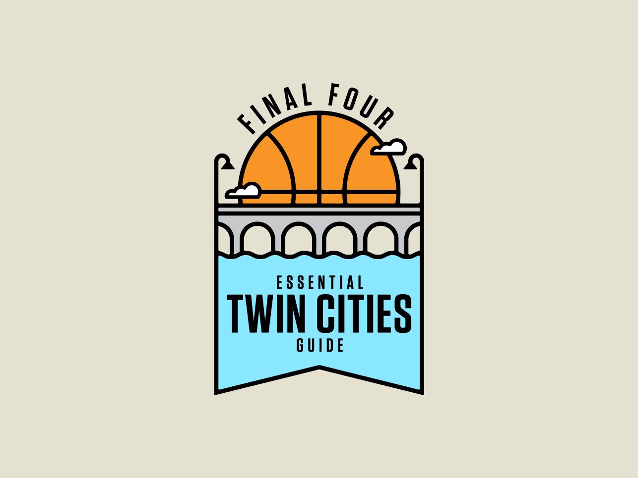 Final Four bridge river monoline city logo badge sports northwest minnesota twin cities minneapolis basketball