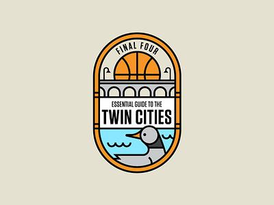 Final Four alternate badge branding logo monoline river bridges final four midwest minnesota minneapolis bridge basketball bird loon