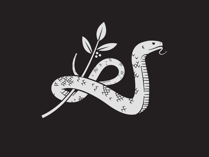 Snake brand logo scales plant reptile vector nature branch snake