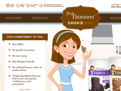 Mrs. Thinsters - Home food product website web design billboard hero-image close-up