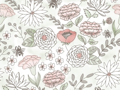 Floral pattern taupe green pink watercolor pattern seamless floral illustration