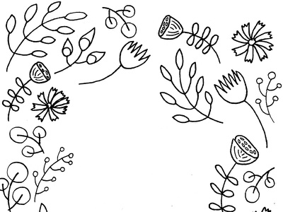 Floral Coloring Page line art white and black floral flowers book coloring adult