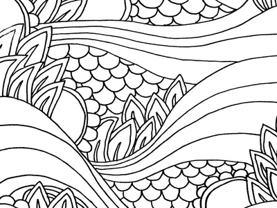 Under the Sea Coloring Page art line abstract white and black sea water ocean book coloring adult