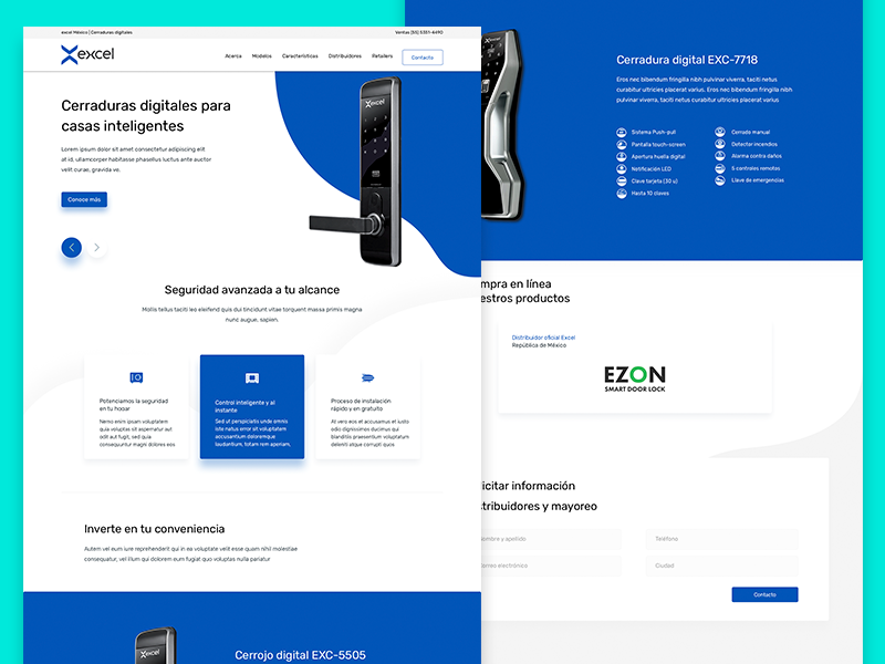 Excel Landing ui web design responsive sketch app flat design lock smart lock smarthome mexico landing design landing page