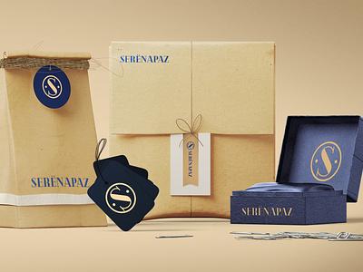 Serenapaz branding blue typography sticker design card design bag design packaging logo branding