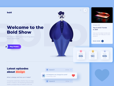 This is The Bold Show Podcast Landing Page illustraion web design webdesign user interface clean ux ui